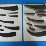 (左)紙にマジックで手書きしたもの(右)スキャンしてレーザーで切断したもの
